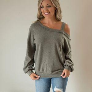 SALE! New Strappy Cold Shoulder Casual Sweatshirt